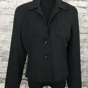 Carlisle Womens Wool Career Blazer Jacket Charcoal